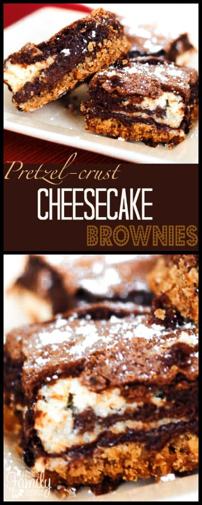 The pretzel crust in these Pretzel Crust Cheesecake Brownies gives an added dimension to the rich chocolate and creamy cheesecake. Every bite is delightful! via @favfamilyrecipz