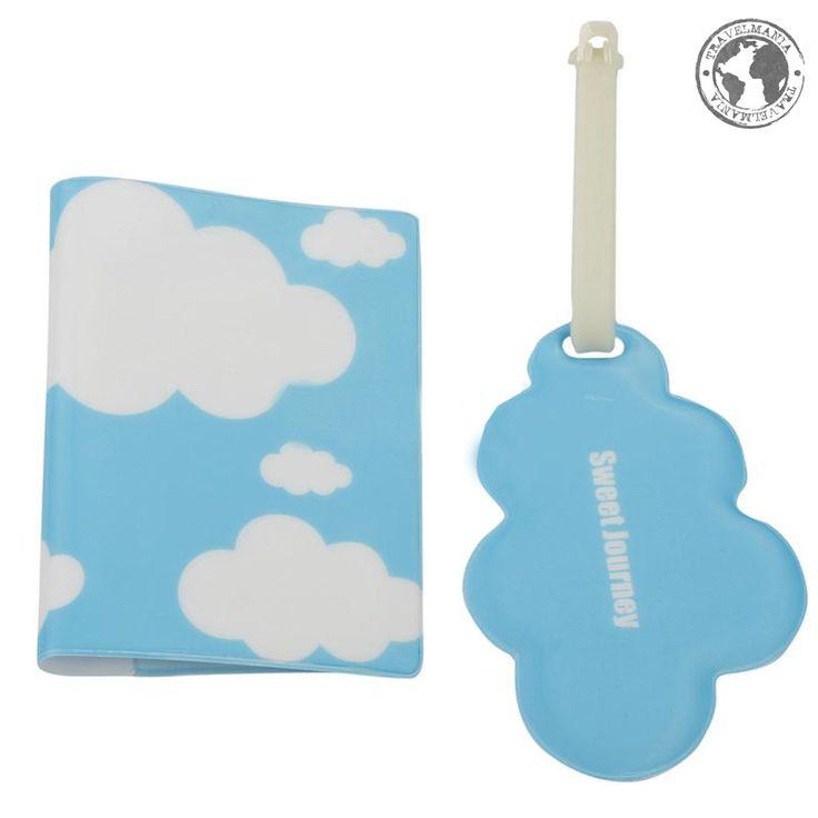 Porta Pasaporte e Identificador de maleta nube. Medidas: 13,5 x 10 cm.
