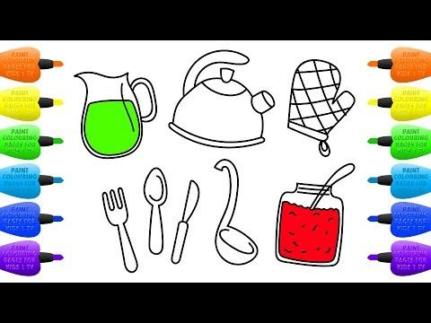 How to Draw Kitchen Set for Girls | Coloring Pages Tableware, Jam and Juice - Vidinterest