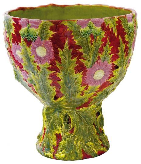 Zsolnay - Bogáncsos kaspó, 1899 körül Fazonszám: 5454, Mg: 46 cm, szájátmérő: 37,5 cm Jelzés: masszába nyomott Zsolnay Pécs jelzés 2011/be 1,5-2m