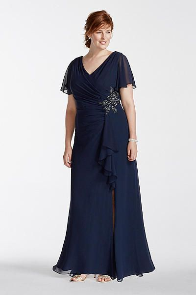 Long Chiffon Dress with Flutter Sleeves 292304I