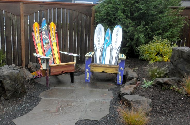 Adirondack Chairs Made Out Of Upcycled Water Skis Now Reside In My Garden.