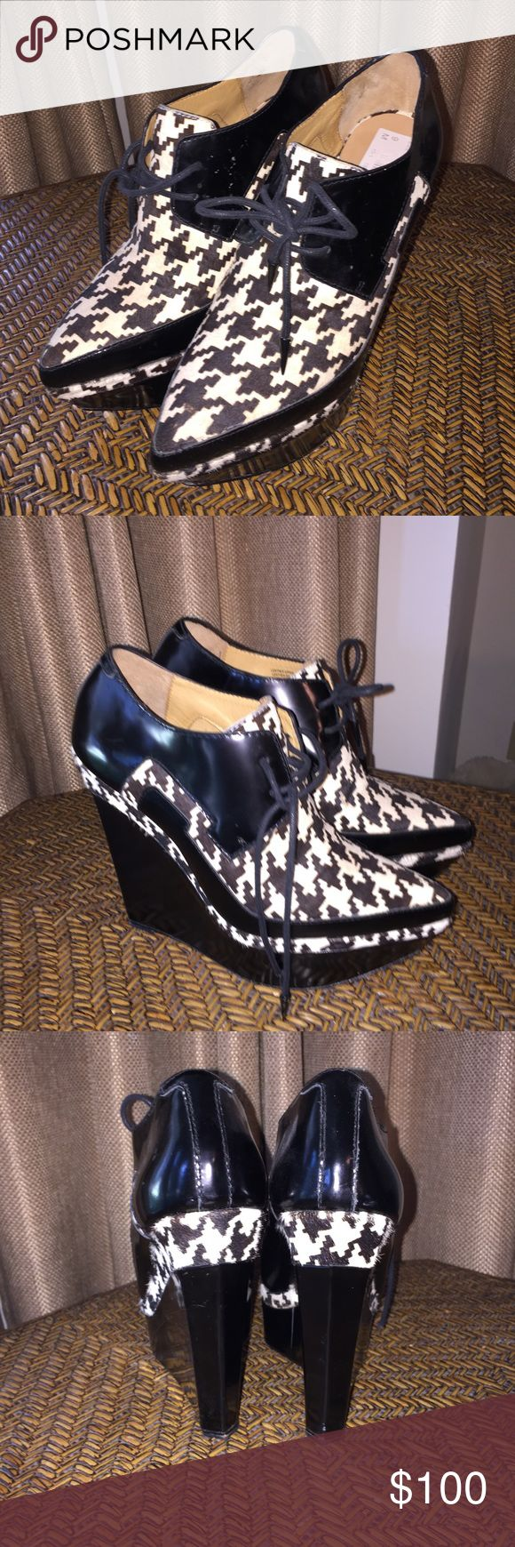 Black and White Lace up platform LAMB Black and white herringbone lace up platforms. Lightly worn. Beautiful condition. LAMB Shoes Platforms