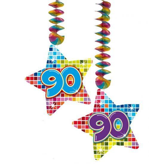 Hangdecoratie sterren 90 jaar. Hangdecoratie in de vorm van sterretjes met het getal 90. De decoratie is verpakt per 2 stuks en is ongeveer 13,3 x 16,5 cm groot.