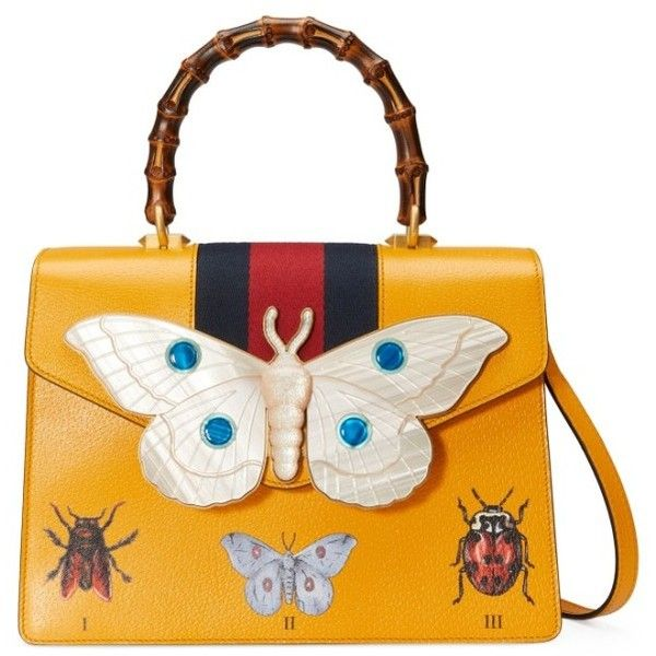 Women's Gucci Small Falena Moth Top Handle Satchel ($3,500) ❤ liked on Polyvore featuring bags, handbags, yellow, white leather handbags, leather purses, gucci purse, white leather purse and white satchel handbags