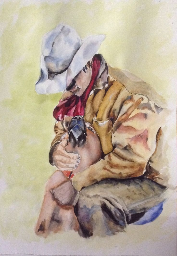 My painting 'Cowboy and His Dog' this painting is for sale