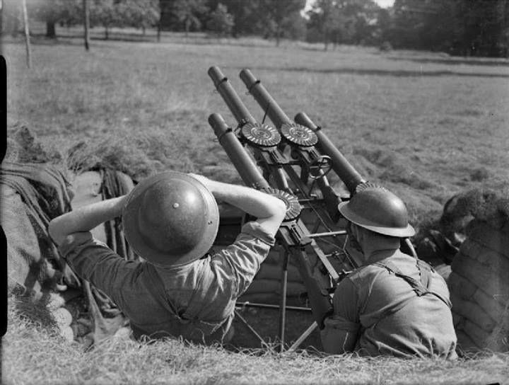 Philippine Army quad Lewis gun anti-aircraft position - Bataan 1942