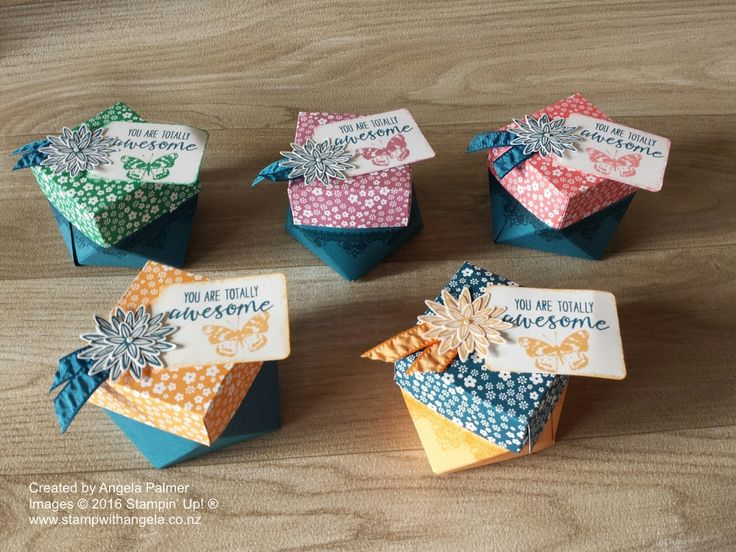 These diamond shaped boxes feature the new In Colours and were made with the Gift Bag Punch Board. They were made for at my…