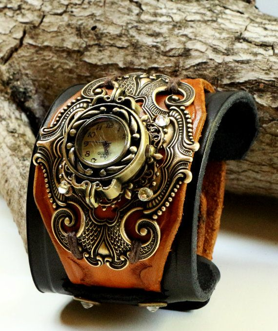 Leather Cuff Watch, Steampunk Ladies Vintage Style Fashion Watch, Women's Wide Layered Leather Cuff