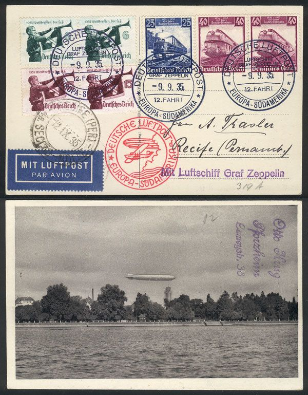German Empire (1933/45, Third Reich), PC with nice view of Zeppelin flying over the coast of a lake, flown by ZEPPELIN to Recife, dispatched onboard on 9/SE/1935, handsome postage, excellent quality! Starting Price (11/2016): 50 EUR.
