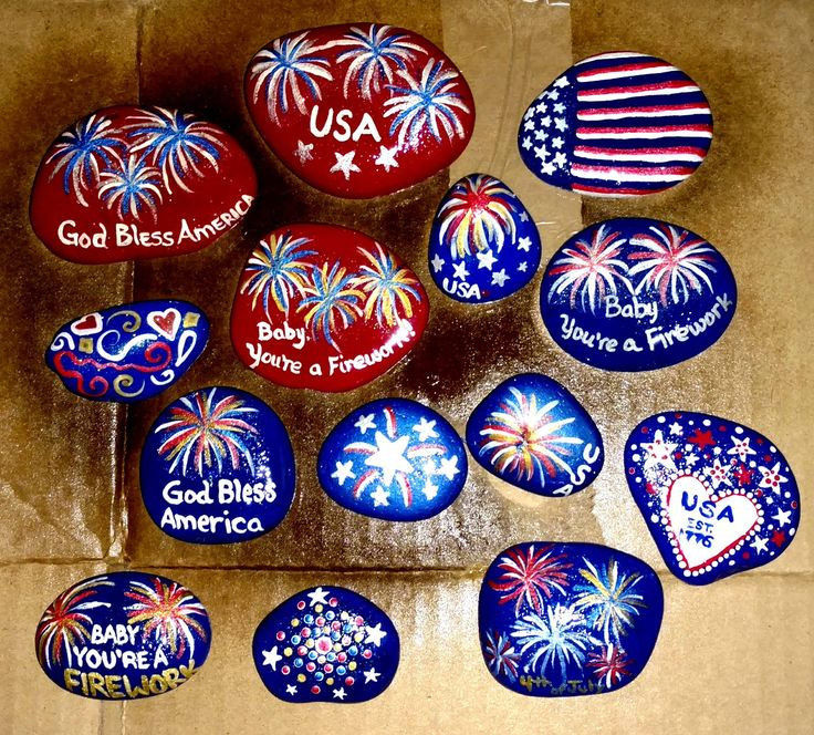 Patriotic painted rocks 4th of july red white blue - Painting rocks for garden what kind of paint ...