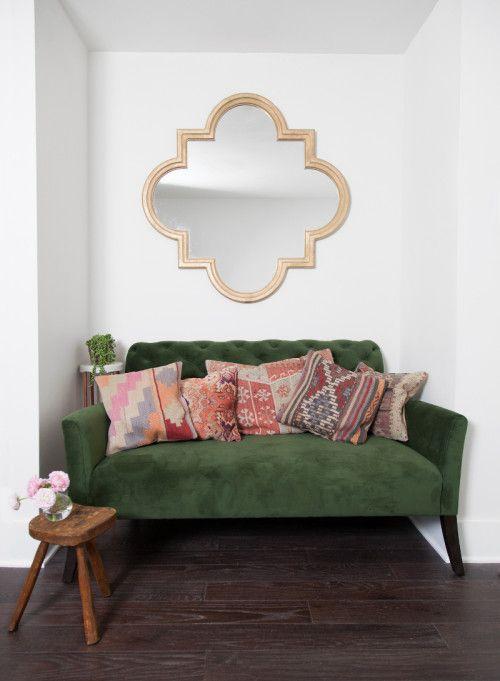 Green sofa, nook / decor