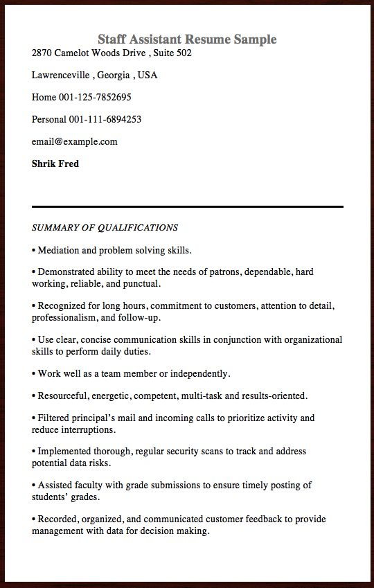 Here is the free example Of Staff Assistant Resume, you can - construction foreman resume