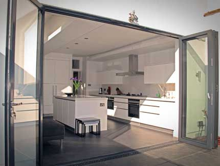 Bristol Bifold Doors: External Aluminium Bifold Doors in Opened Position