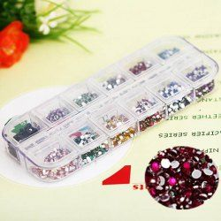 $3.53 Stylish 12 Colors Glitter Nail Art Tips with Plastic Box Round Paillette Decoration