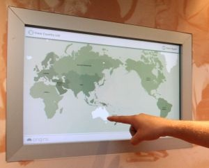 The Immigration Museum, which is part of Museum Victoria in Melbourne, Australia, has implemented this information kiosk using a NextWindow 2101 integrated touch frame. By touching a region on a world map, you can display details of a country from which immigrants travelled to Australia.