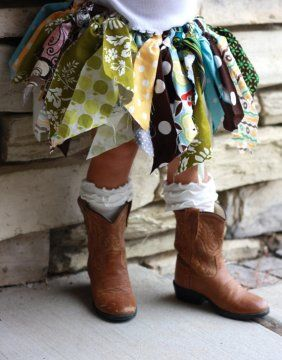 Scrap fabric tutu and cowboy boots! so cute for a little girl