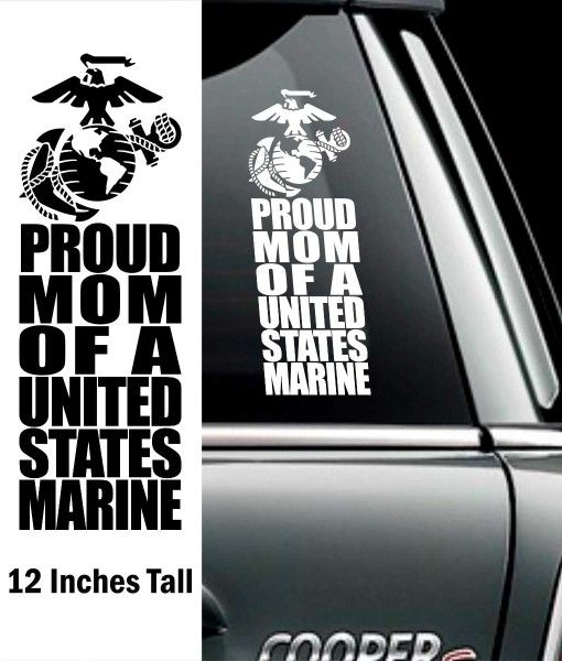 Proud Marine Mom Decal - 12 Inch - The Marine Corps Gift Shop.