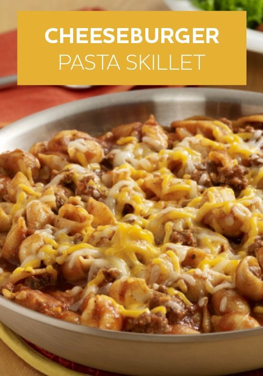 This Cheeseburger Pasta Skillet recipe requires only 15 minutes of prep and 7 ingredients!