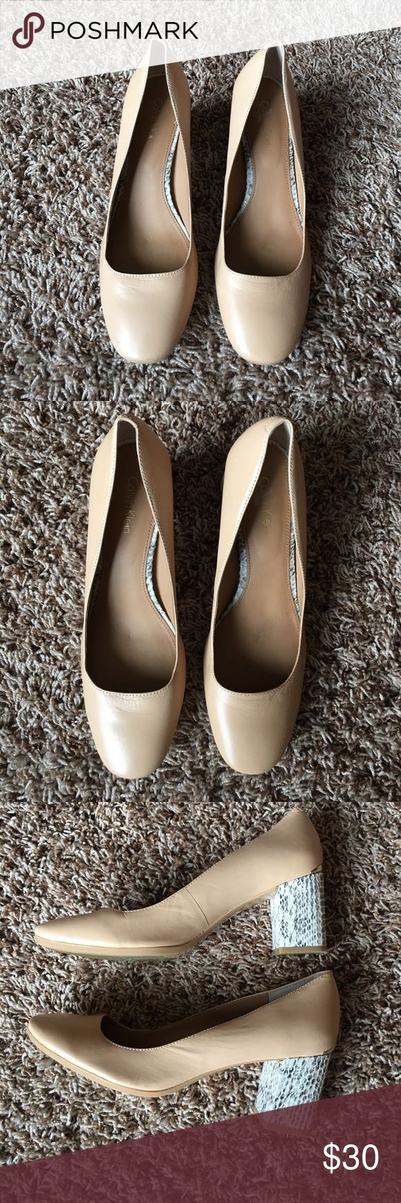 CALVIN KLEIN LEATHER AND SNAKE SKIN SHOES 💕SALE💕 In mint condition, only been worn about 3 times. Leather with gold plate on back. Calvin Klein Shoes Heels