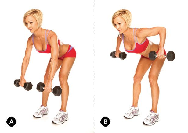 Dumbbell Row: Targets: Latissimus Dorsi(broadest muscles ...