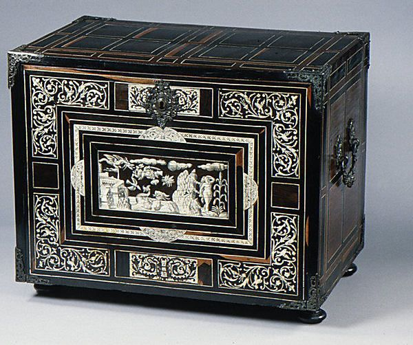 Cabinet Date: 1600–25 Culture: Italian (Lombardy) Medium: Pine and walnut veneered with rosewood, ebony, macassar ebony, and ivory; brass mounts Dimensions: 17-1/2 x 21 x 14 in. (44.5 x 53.3 x 35.6 cm)