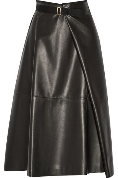 Black leather midi skirt - The Row
