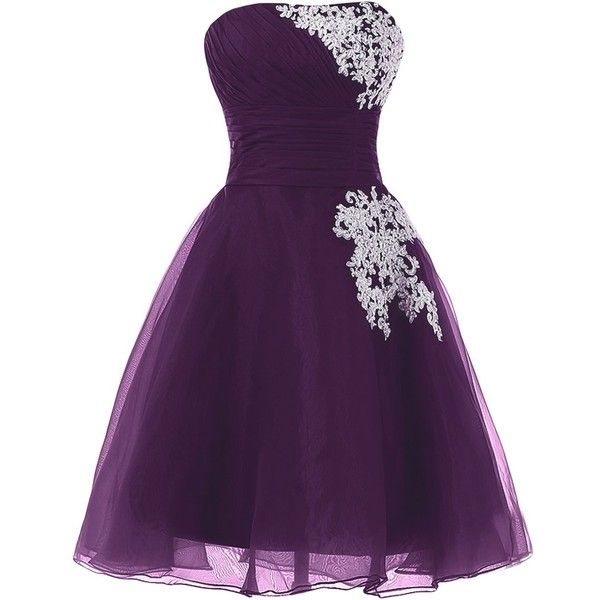 Sunvary Organza and Lace Short Homecoming Cocktail Dresses Bridesmaid... (£42) ❤ liked on Polyvore featuring dresses, lace dress, short bridesmaid dresses, purple dress, short cocktail dresses and lace bridesmaid dresses