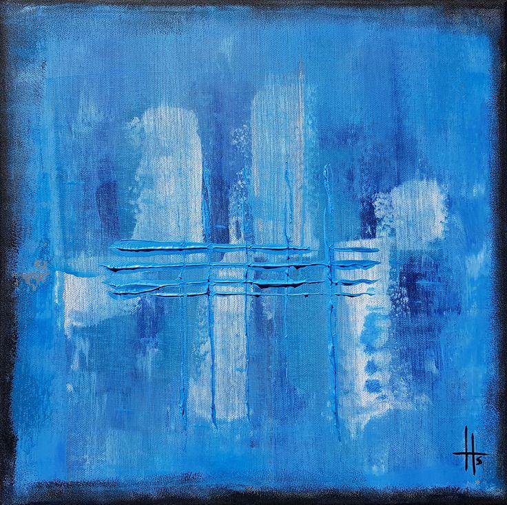 tableau peinture abstrait carré - Peinture,  36x36x1,8 cm ©2017 par Sandrine Hartmann -                            Art abstrait, carré bleu, abstrait