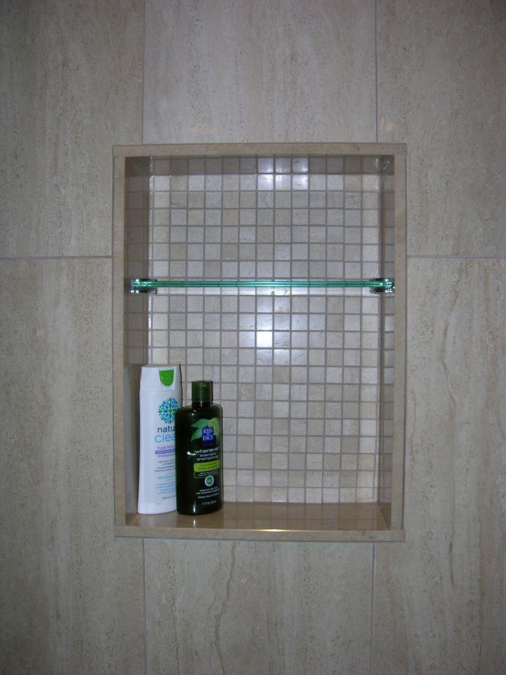 Custom Shower Niche with Glass Shelf, Caledon Tile