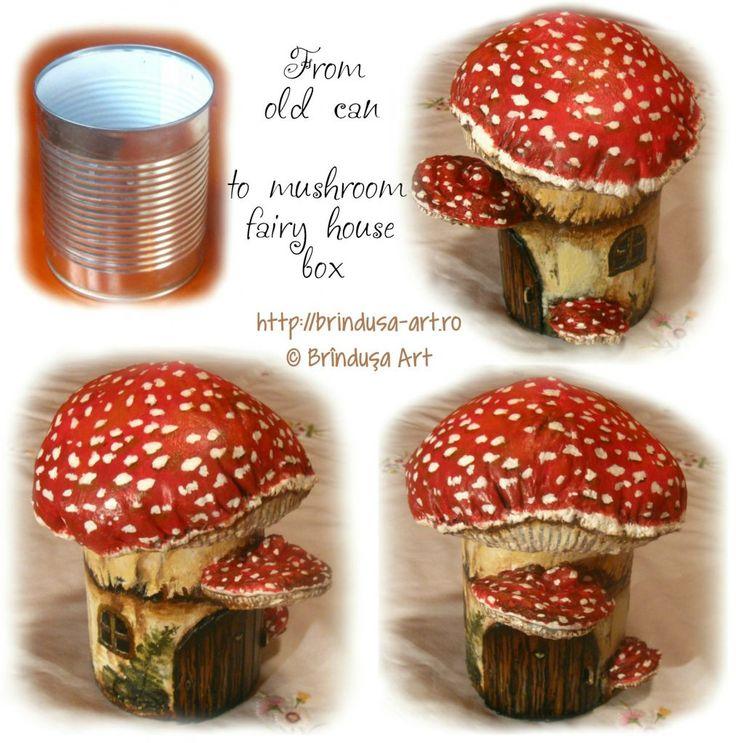Brînduşa Art Repurposed/ recycled tin can, painted & turned into a fairy house box (or gnome house box). The roof lid can be lifted, so things can be kept in the box. Painted in acrylics. Conservă reciclată, pictată & transformată într-o căsuţă pt. zâne (sau piticuţi). Acoperişul poate fi ridicat, aşa că se pot păstra diverse lucruri în cutie. Pictată în culori acrilice.  #recycling #repurposing #cans #painting #conserva #reciclare #handmade #acrylics #acrilice #mushroom #beforeandafter