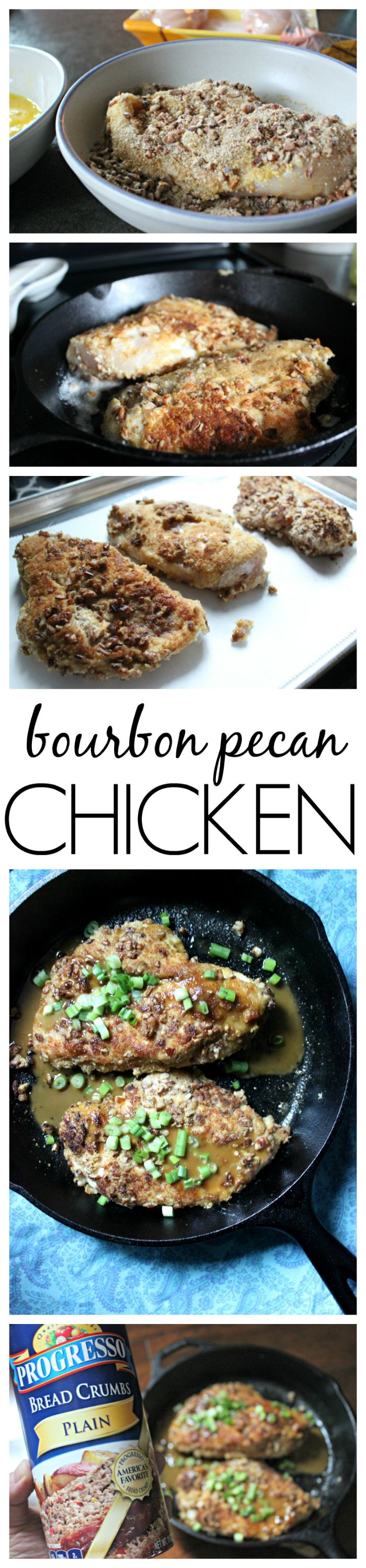 If you're looking for comfort food that can wow a crowd and is easy to make - then you have to make this easy bourbon pecan chicken recipe.  Made with Progresso bread crumbs, pecans and of course bourbon, in 30 minutes you'll be ready to serve dinner and everyone will be asking you for the recipe!  #sponsored
