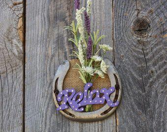 Decorado flor Herradura, Relax, Western Decor tema, granja decoración, dormitorio roon decoración rústica, decoración de casa rústica