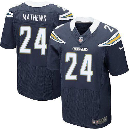 Men's Nike San Diego Chargers #24 Ryan Mathews Elite Team Color Navy Jersey $129.99