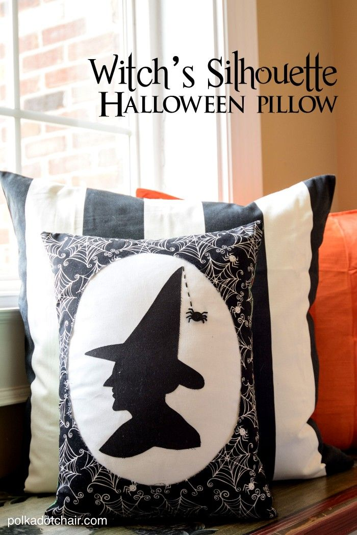 """Witch's Silhouette"" A Halloween Pillow Free Sewing Pattern & tutorial from polkadotchair.com"