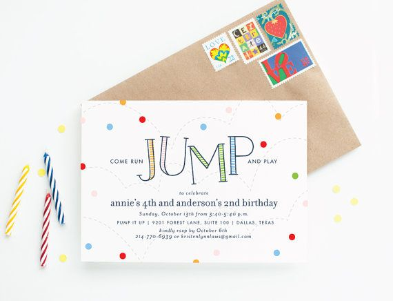 Bounce House Birthday Party Invitations - Run Jump and Play Children's Birthday Invitation