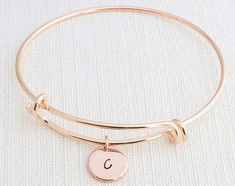 Pulsera de oro rosa, pulsera inicial, apilamiento pulsera, pulsera, regalo de monograma