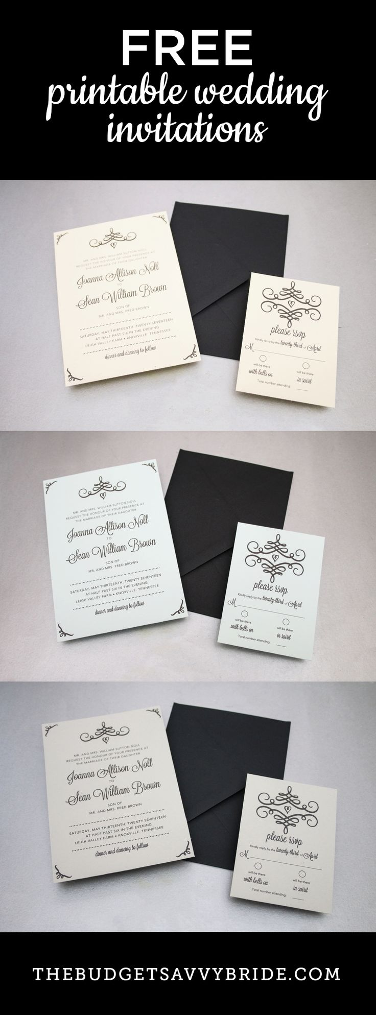 DIY Swirl Wedding Invitations Free Printable