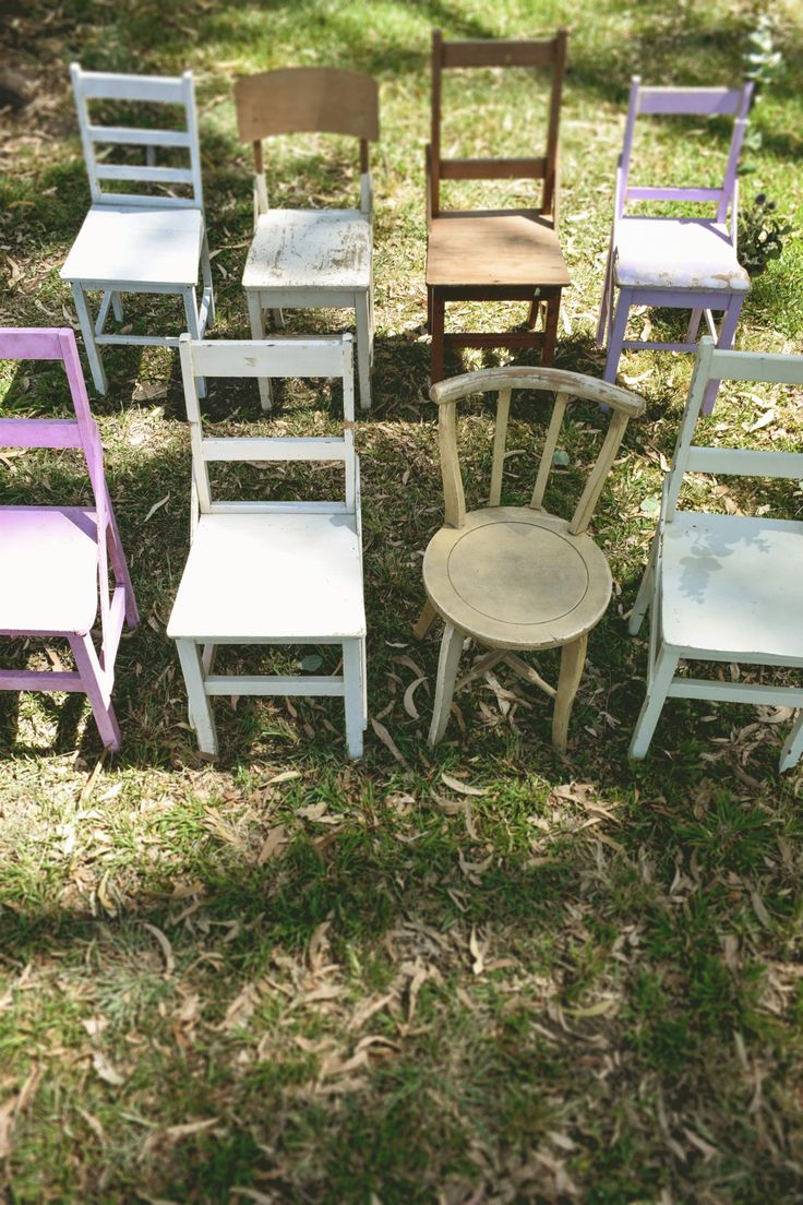 Vintage wedding ceremony package featuring assorted vintage chairs http://www.edeevents.com.au/vintage-ceremony