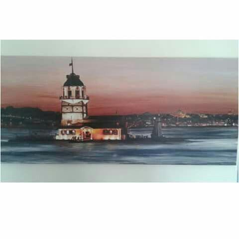 40*90 tuval akrilik el boyama Istanbul kizkulesi