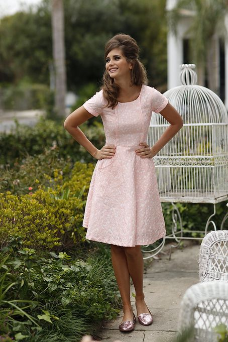 Fit and Flare Heart of Dixie Dress pink from the Spring Collection by Shabby Apple