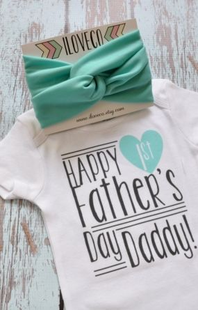 Father's Day Outfit Onesie and Headband / Custom First Father's Day / Custom Onesie with matching Baby headband