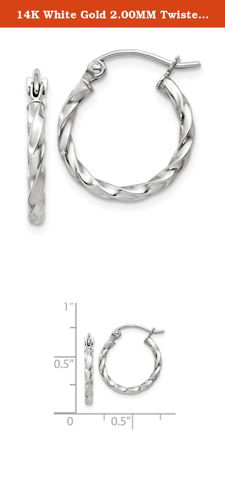14k white gold 200mm twisted round hoop earrings caring
