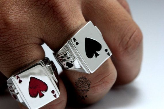 Ace Card Ring, Triple Ace beside, Fashion Men's Silver Ring,925 Sterling Silver,Black Enamel White Gold Plated.