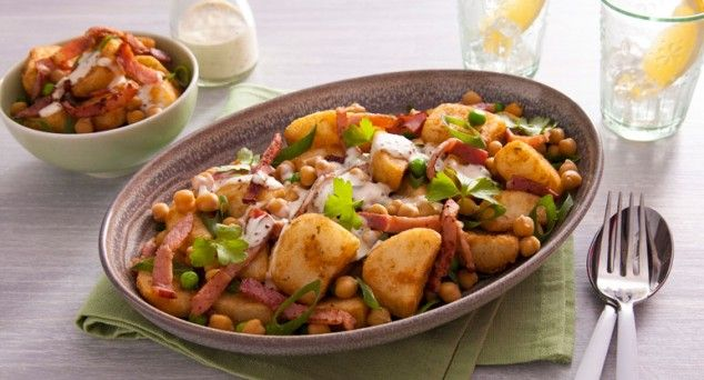 Every Aussie BBQ needs a side of spuds! Give this yummy Roast Potato Salad with Crispy Bacon a whirl.  #summer #sidedish #recipe