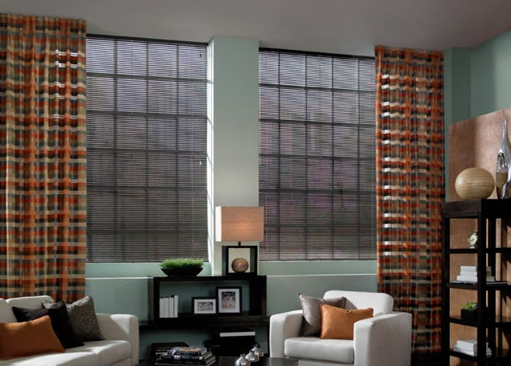 Layer aluminum blinds with drapes for maximum light control while keeping with contemporary decor.  #BudgetBlinds