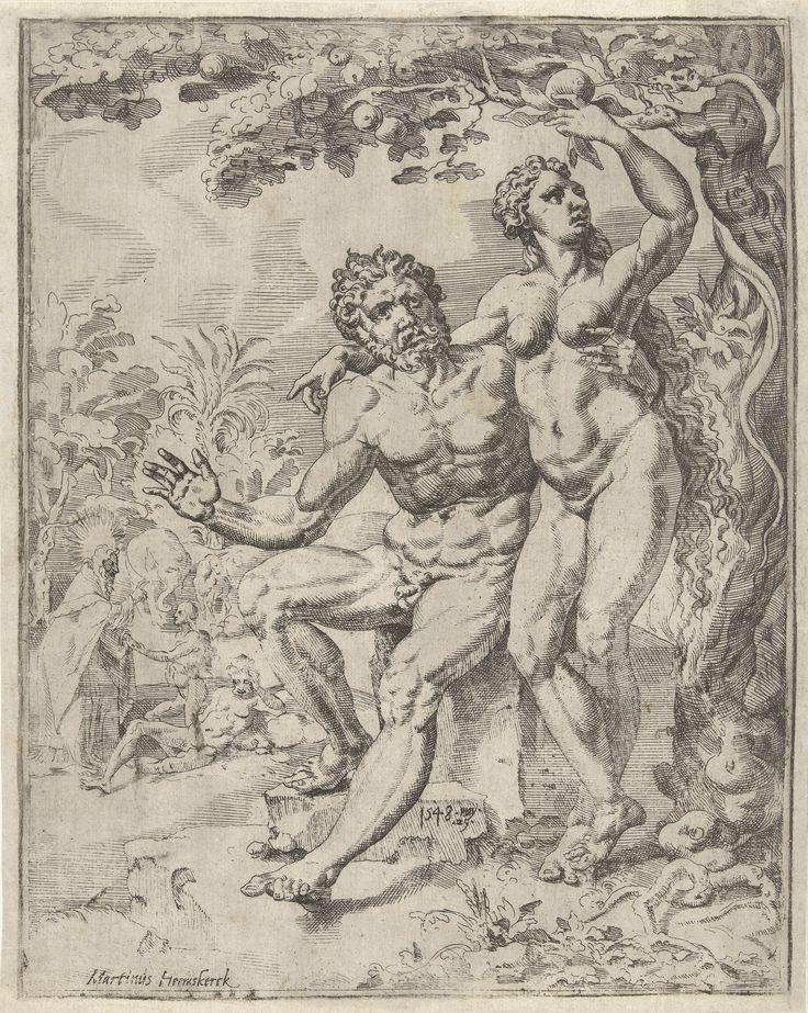 Dirck Volckertsz Coornhert, naar Maarten van Heemskerck. Adam en Eva plukken de verboden vrucht. ets, 1548, Rijksmuseum