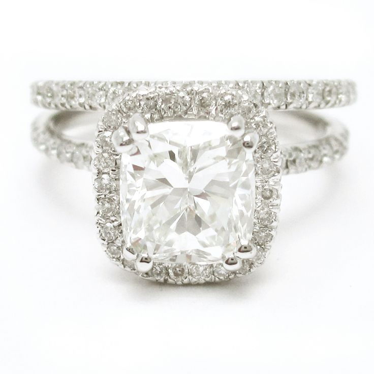 I'm SO obsessed!!!!!! - Cushion Cut Diamond Engagement Ring with thin band and matching wedding ring my ring size is 3.5 for future reference.. ;)