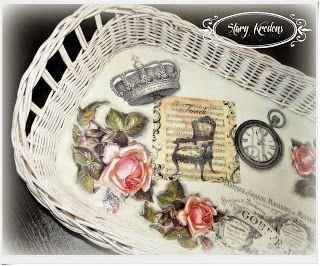 Taca w bieli - francuskie grafiki i róże - Decoupage