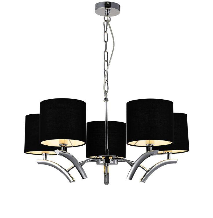 Lampa wisząca Braga posiada 5 źródeł światła ukrytych pod czarnymi abażurami i ozdobny jest łańcuch o dużych ogniwach, co nadaje jej wyjątkowo charakterystyczny wygląd. Efekt świecenia lampy jest urzekający i stanowi przepiękną dekorację salonu, sypialni czy jadalni.